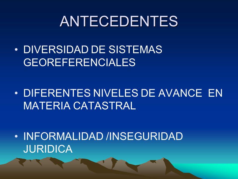 ANTECEDENTES DIVERSIDAD DE SISTEMAS GEOREFERENCIALES DIFERENTES NIVELES DE AVANCE EN MATERIA CATASTRAL INFORMALIDAD /INSEGURIDAD JURIDICA