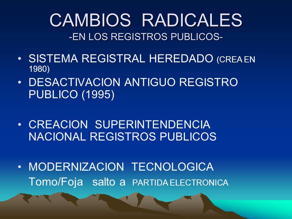 CAMBIOS RADICALES -EN LOS REGISTROS PUBLICOS- SISTEMA REGISTRAL HEREDADO (CREA EN 1980) DESACTIVACION ANTIGUO REGISTRO PUBLICO (1995) CREACION SUPERIN