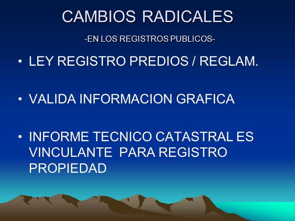 CAMBIOS RADICALES -EN LOS REGISTROS PUBLICOS- LEY REGISTRO PREDIOS / REGLAM. VALIDA INFORMACION GRAFICA INFORME TECNICO CATASTRAL ES VINCULANTE PARA R