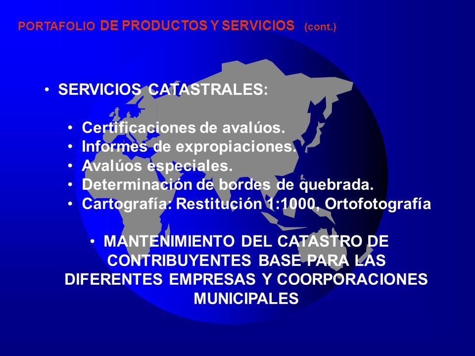 SERVICIOS CATASTRALES: Certificaciones de avalúos.