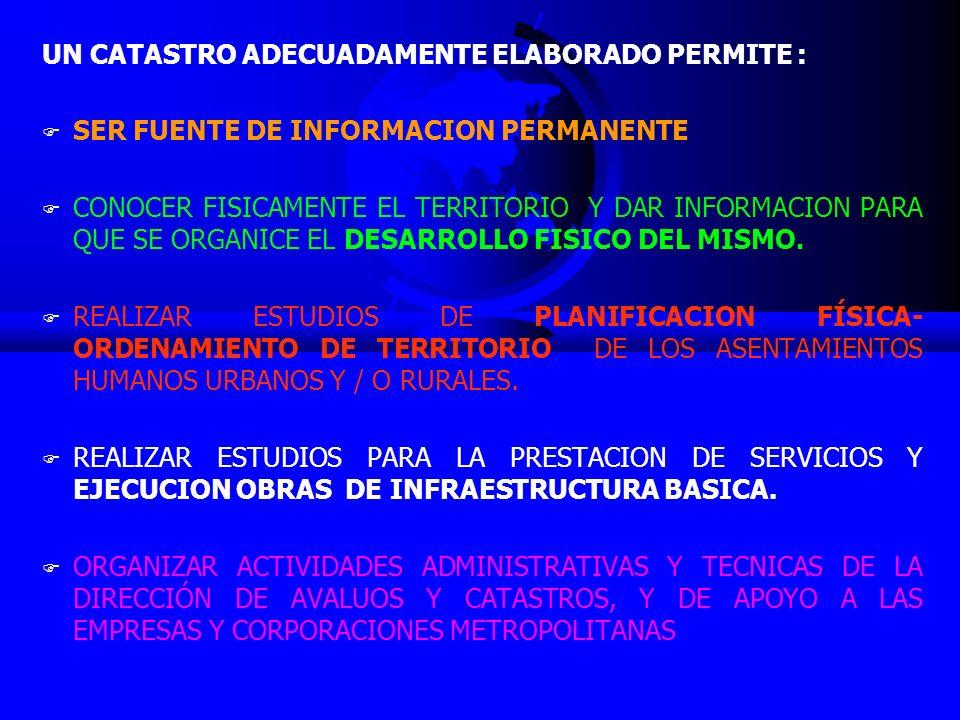 UN CATASTRO ADECUADAMENTE ELABORADO PERMITE : F SER FUENTE DE INFORMACION PERMANENTE F CONOCER FISICAMENTE EL TERRITORIO Y DAR INFORMACION PARA QUE SE ORGANICE EL DESARROLLO FISICO DEL MISMO.