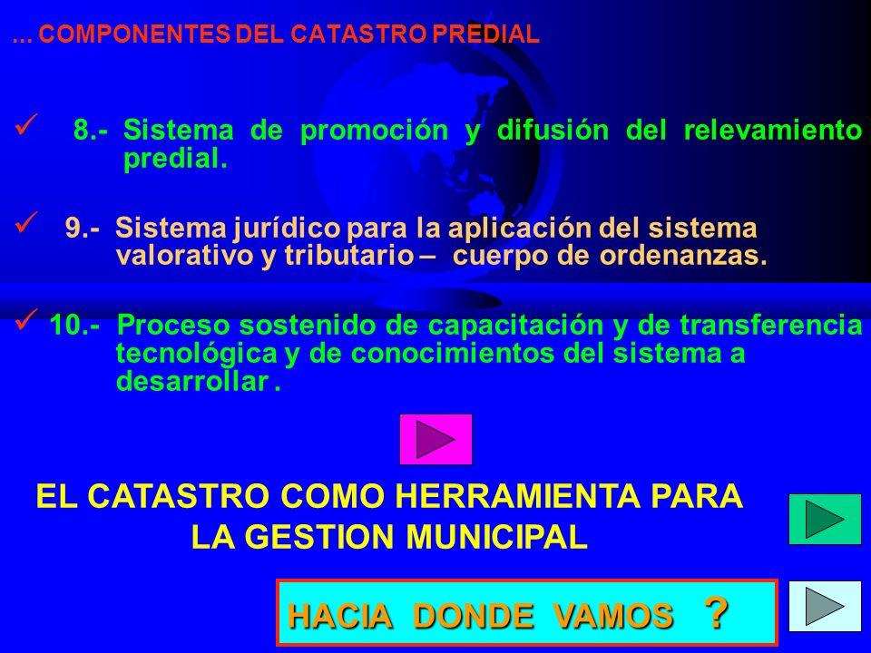 ...COMPONENTES DEL CATASTRO PREDIAL 8.- Sistema de promoción y difusión del relevamiento predial.