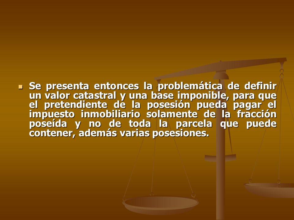 Se presenta entonces la problemática de definir un valor catastral y una base imponible, para que el pretendiente de la posesión pueda pagar el impues