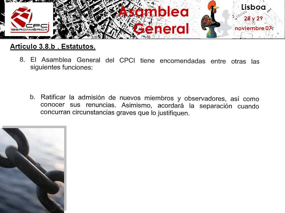 Lisboa 28 y 29 noviembre 07 Asamblea General Artículo 3.8.b. Estatutos.