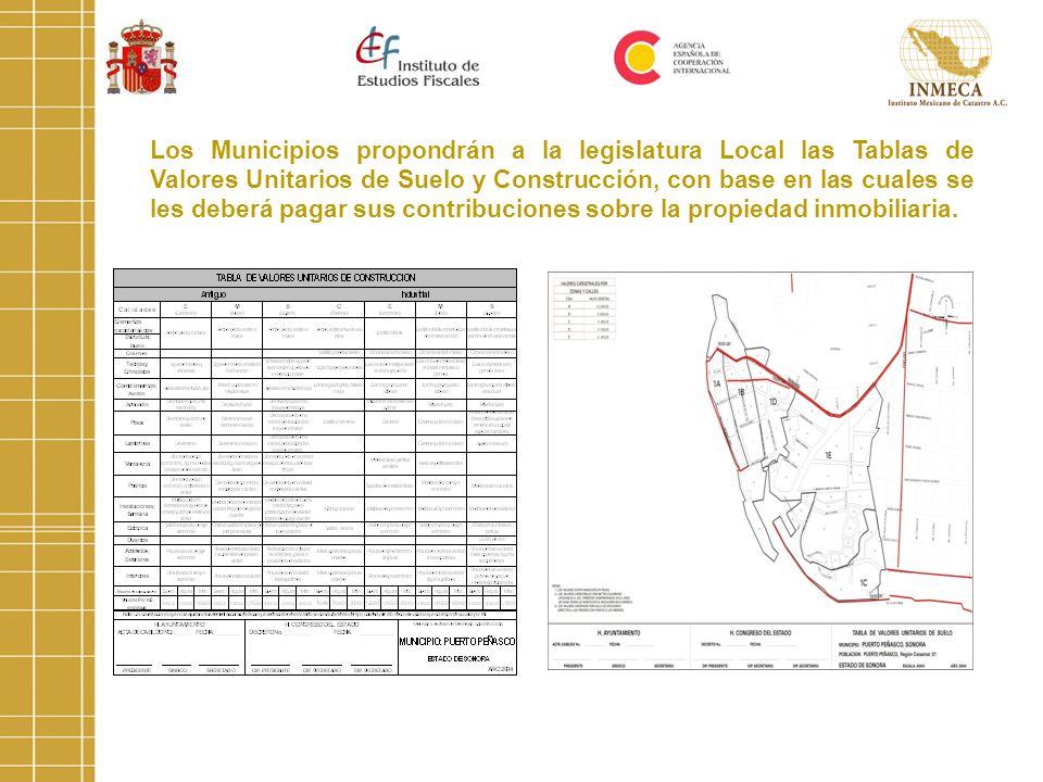 Los Municipios propondrán a la legislatura Local las Tablas de Valores Unitarios de Suelo y Construcción, con base en las cuales se les deberá pagar s