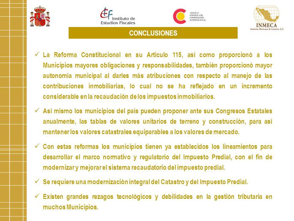 La Reforma Constitucional en su Articulo 115, así como proporcionó a los Municipios mayores obligaciones y responsabilidades, también proporcionó mayo