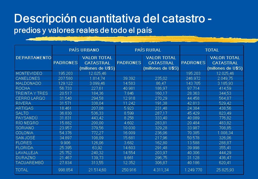 Descripción cuantitativa del catastro - predios y valores reales de todo el país