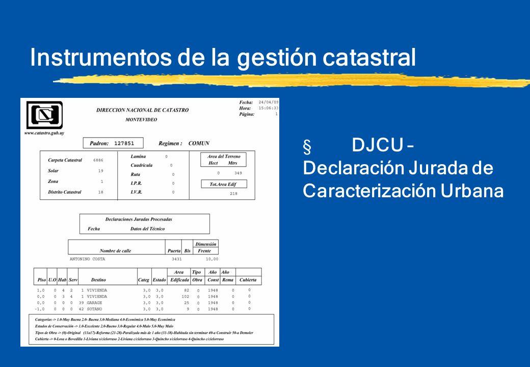 Instrumentos de la gestión catastral § DJCU – Declaración Jurada de Caracterización Urbana