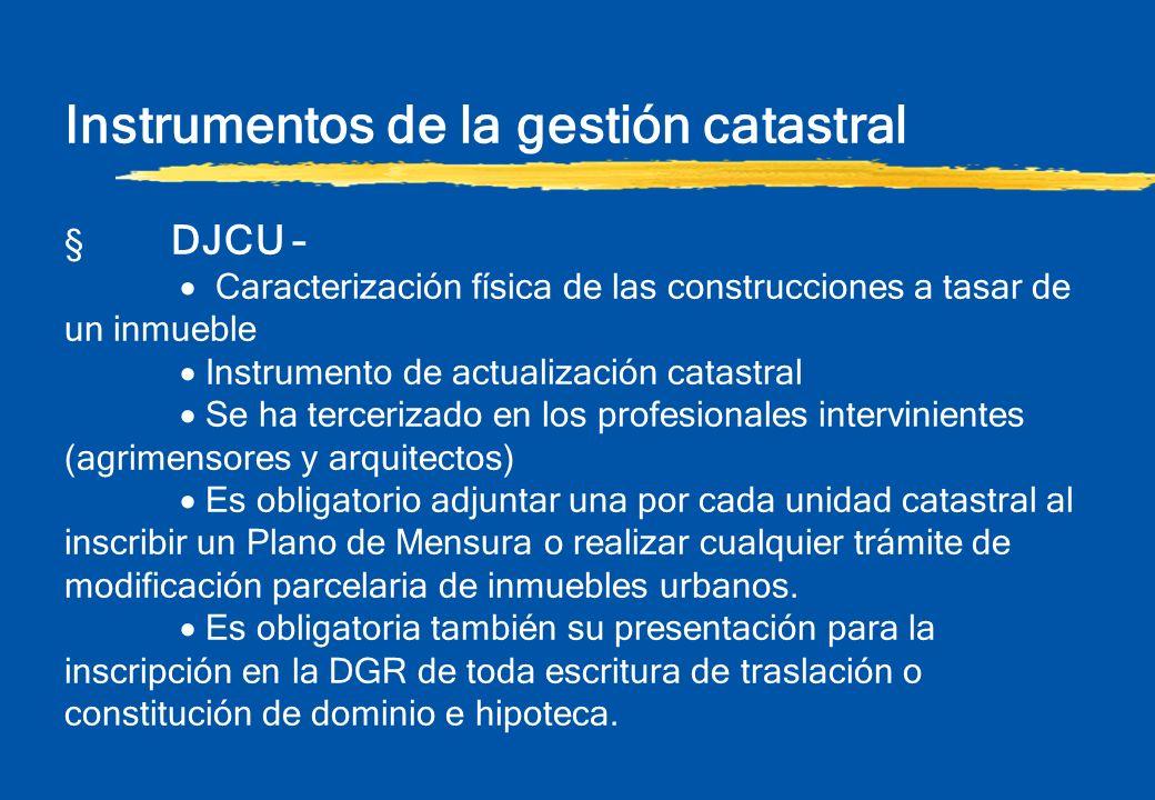 Instrumentos de la gestión catastral § DJCU – Caracterización física de las construcciones a tasar de un inmueble Instrumento de actualización catastr