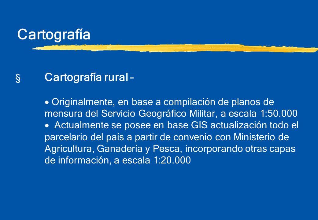 Cartografía § Cartografía rural – Originalmente, en base a compilación de planos de mensura del Servicio Geográfico Militar, a escala 1:50.000 Actualm