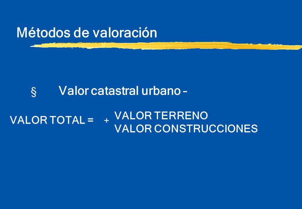 Métodos de valoración § Valor catastral urbano – VALOR TERRENO VALOR CONSTRUCCIONES VALOR TOTAL = +