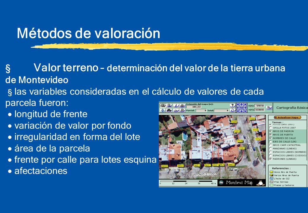Métodos de valoración § Valor terreno – determinación del valor de la tierra urbana de Montevideo § las variables consideradas en el cálculo de valore