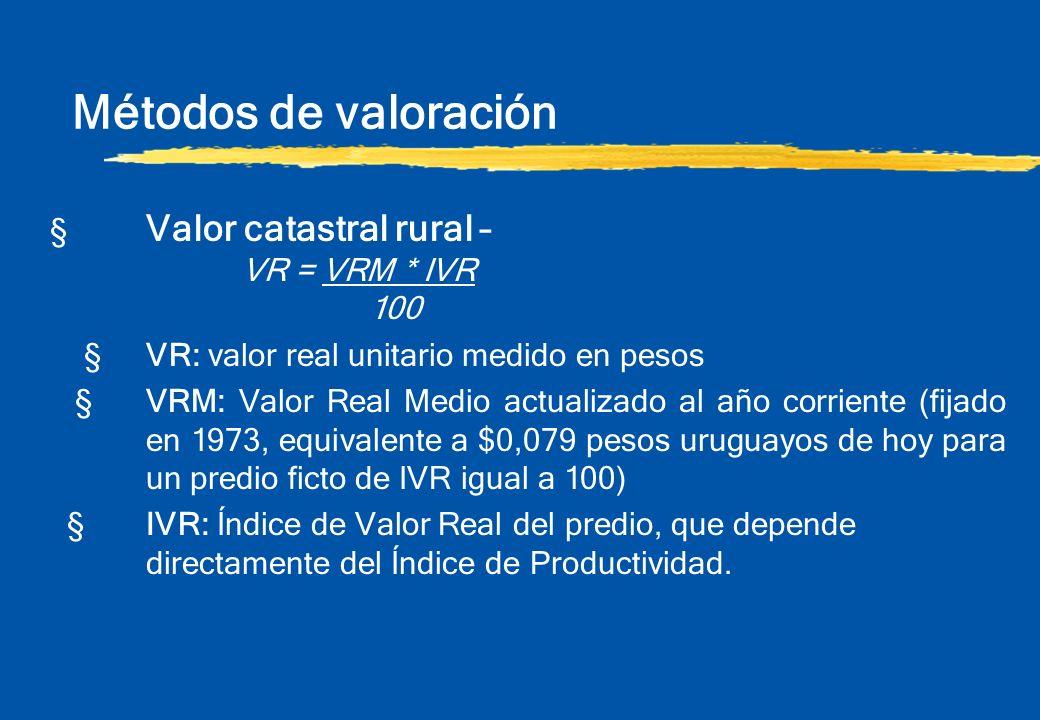 § Valor catastral rural – VR = VRM * IVR 100 §VR: valor real unitario medido en pesos §VRM: Valor Real Medio actualizado al año corriente (fijado en 1