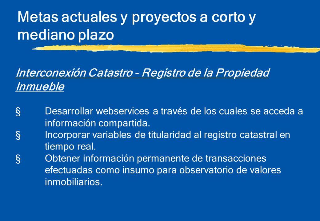 Metas actuales y proyectos a corto y mediano plazo Interconexión Catastro - Registro de la Propiedad Inmueble §Desarrollar webservices a través de los