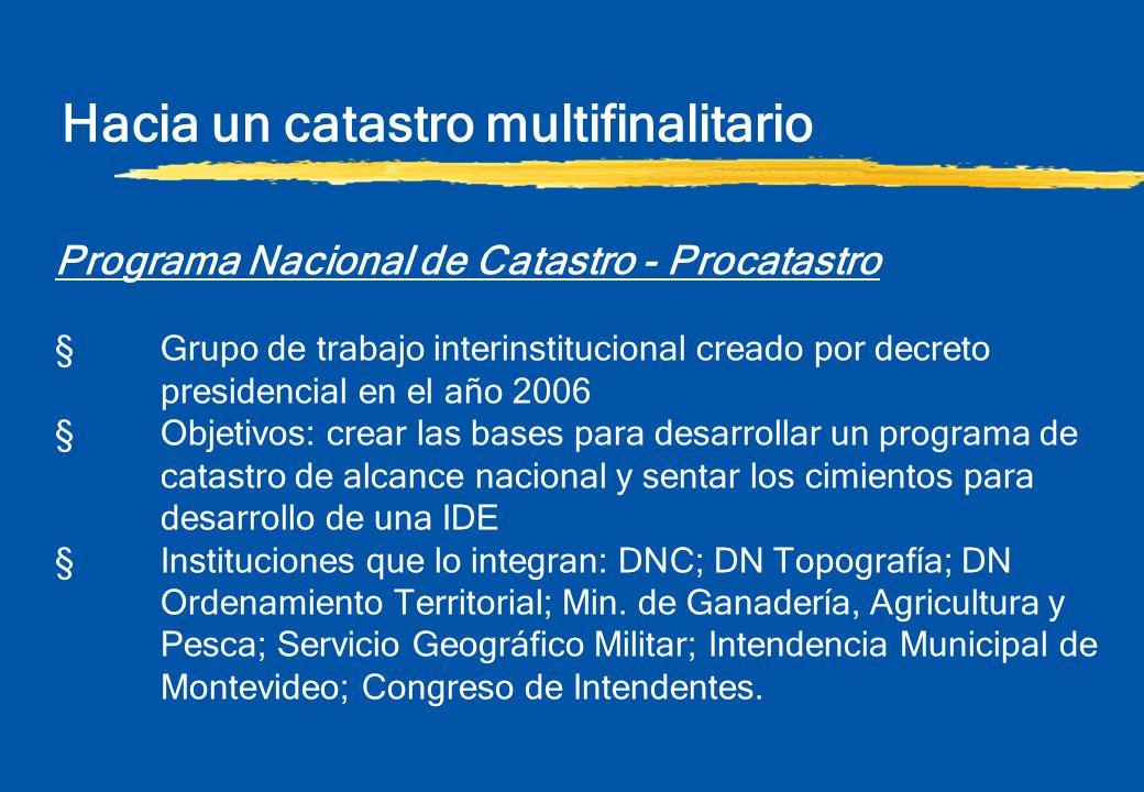 Hacia un catastro multifinalitario Programa Nacional de Catastro - Procatastro §Grupo de trabajo interinstitucional creado por decreto presidencial en