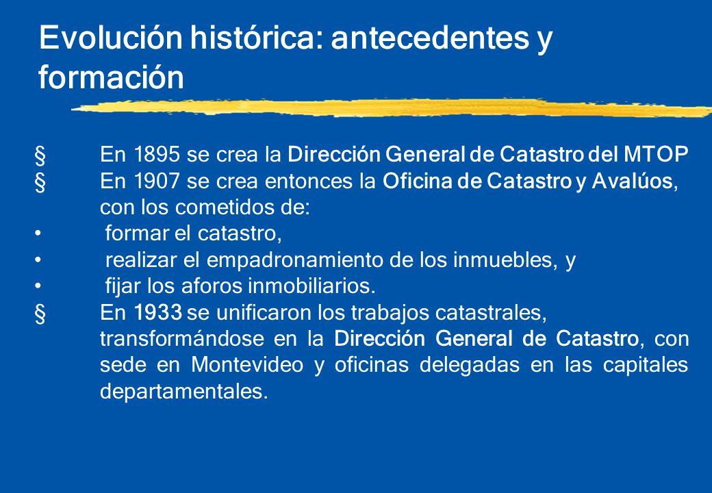 Evolución histórica: antecedentes y formación §En 1895 se crea la Dirección General de Catastro del MTOP §En 1907 se crea entonces la Oficina de Catas