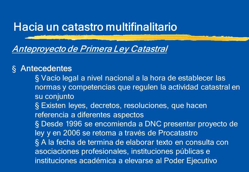 Hacia un catastro multifinalitario Anteproyecto de Primera Ley Catastral § Antecedentes § Vacío legal a nivel nacional a la hora de establecer las nor