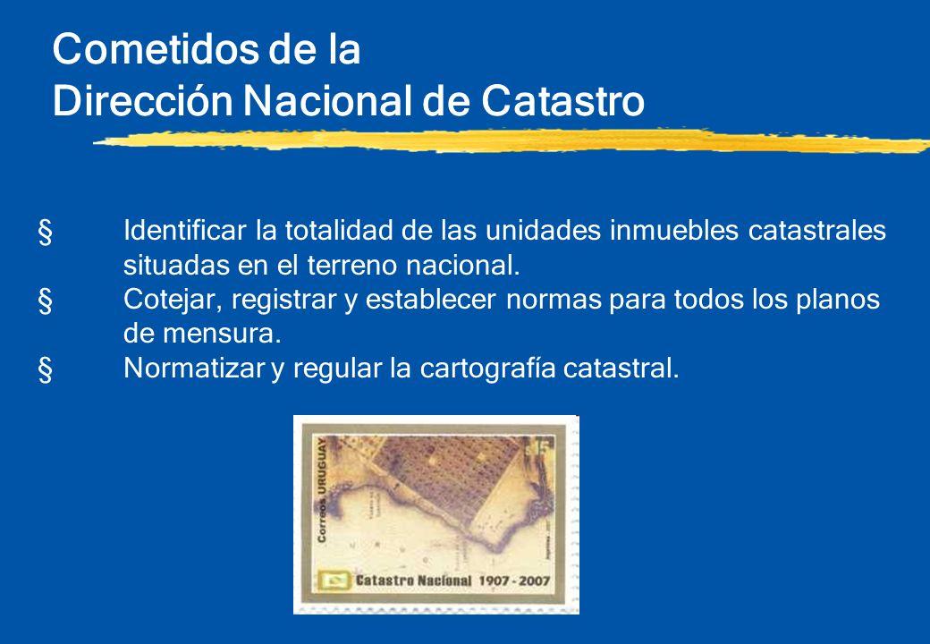 Cometidos de la Dirección Nacional de Catastro §Identificar la totalidad de las unidades inmuebles catastrales situadas en el terreno nacional. §Cotej