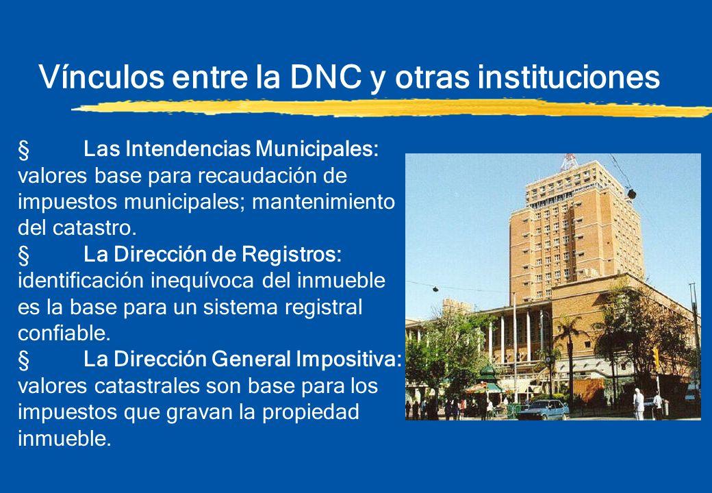 Vínculos entre la DNC y otras instituciones §Los organismos proveedores de servicios (luz, agua, gas, etc) son usuarios permanentes de la cartografía catastral actualizada.
