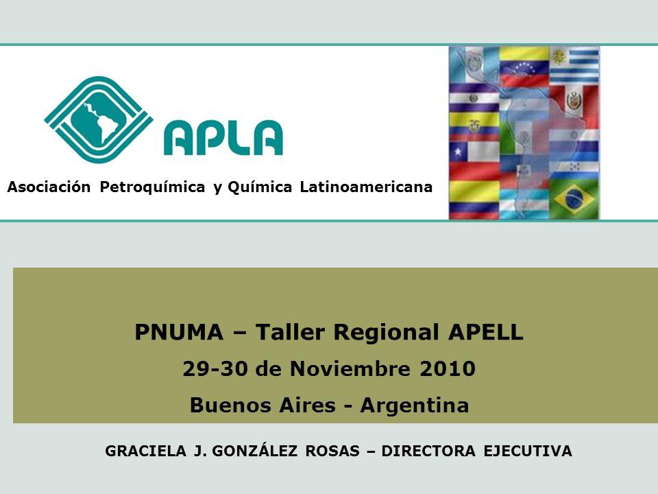 Asociación Petroquímica y Química Latinoamericana PNUMA – Taller Regional APELL 29-30 de Noviembre 2010 Buenos Aires - Argentina GRACIELA J. GONZÁLEZ