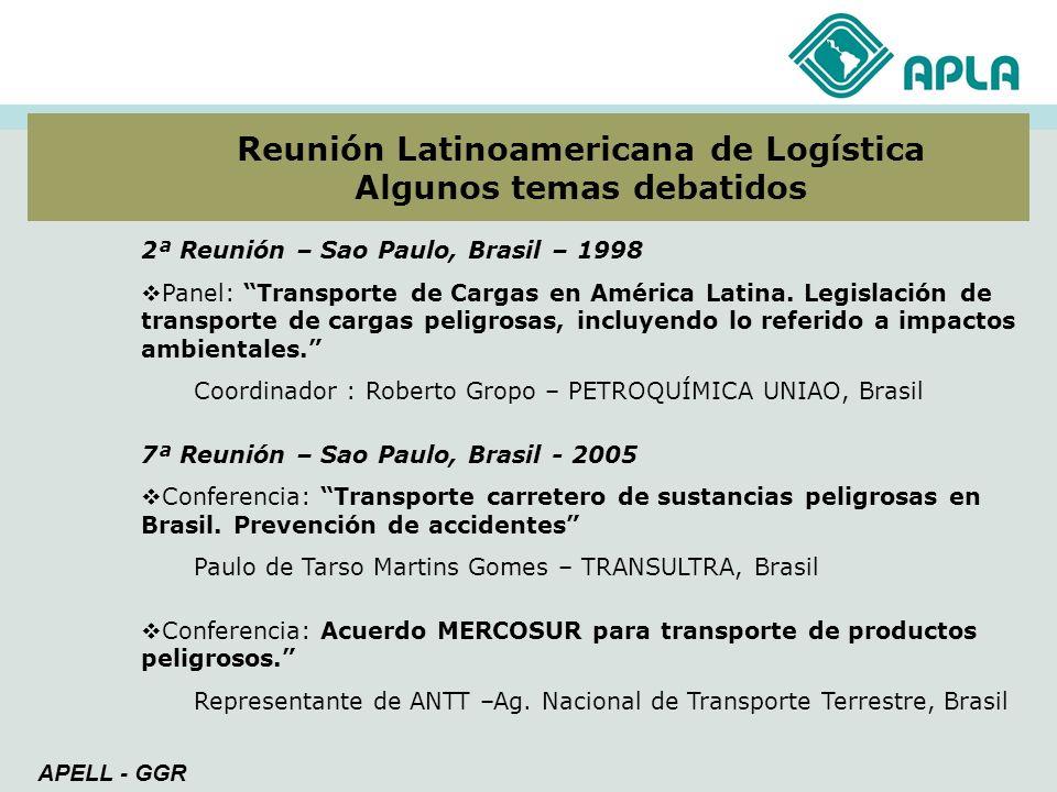 2ª Reunión – Sao Paulo, Brasil – 1998 Panel: Transporte de Cargas en América Latina. Legislación de transporte de cargas peligrosas, incluyendo lo ref