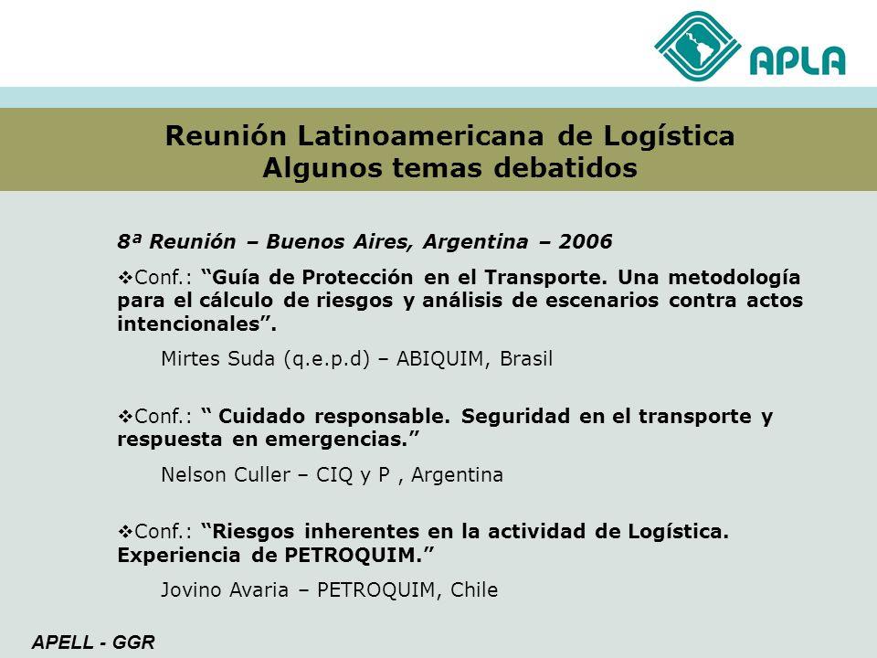 Reunión Latinoamericana de Logística Algunos temas debatidos APELL - GGR 8ª Reunión – Buenos Aires, Argentina – 2006 Conf.: Guía de Protección en el T