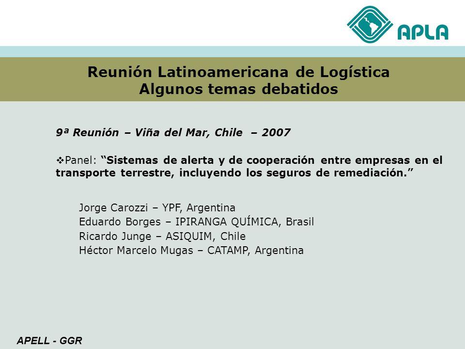 Reunión Latinoamericana de Logística Algunos temas debatidos APELL - GGR 9ª Reunión – Viña del Mar, Chile – 2007 Panel: Sistemas de alerta y de cooper