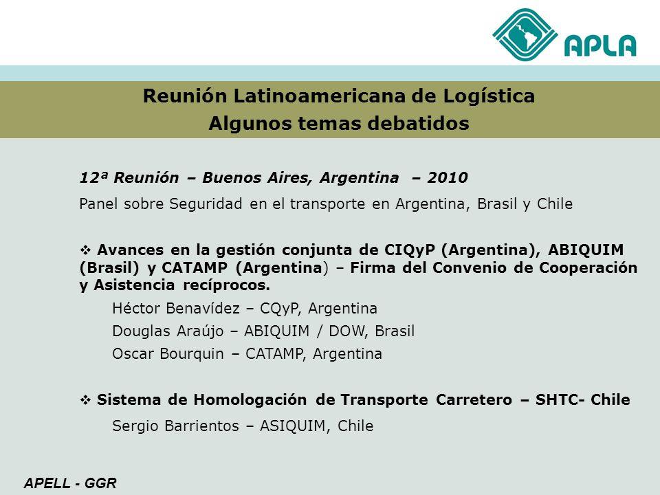 Reunión Latinoamericana de Logística Algunos temas debatidos APELL - GGR 12ª Reunión – Buenos Aires, Argentina – 2010 Panel sobre Seguridad en el tran