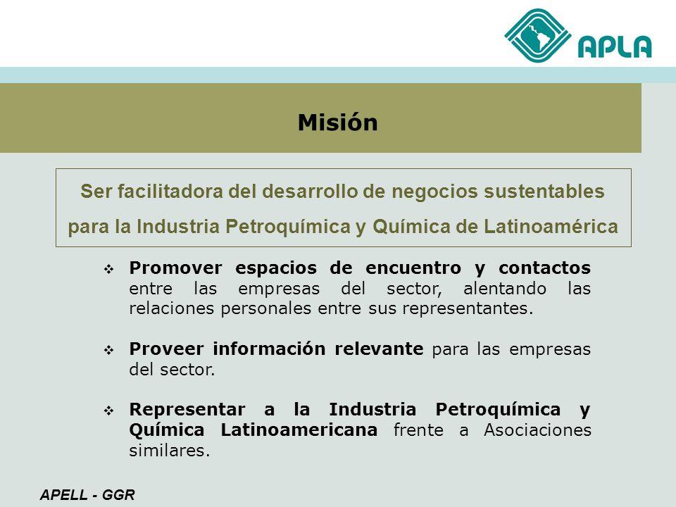 Ser facilitadora del desarrollo de negocios sustentables para la Industria Petroquímica y Química de Latinoamérica Misión Promover espacios de encuent