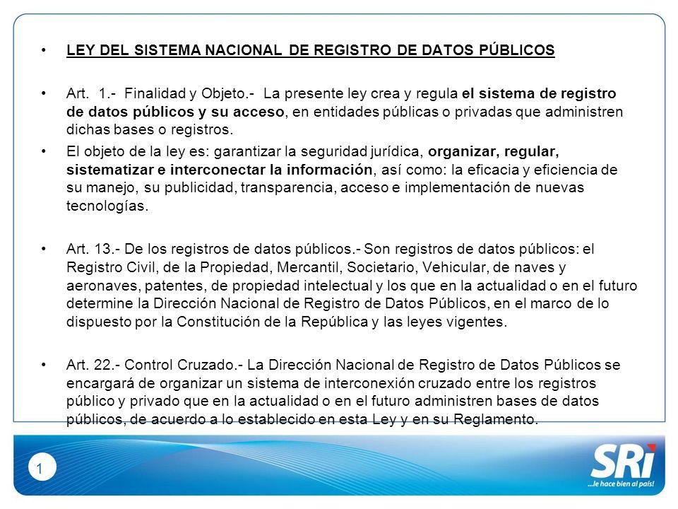 1313 LEY DEL SISTEMA NACIONAL DE REGISTRO DE DATOS PÚBLICOS Art.