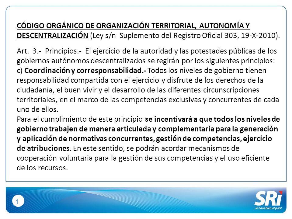 1414 CÓDIGO ORGÁNICO DE ORGANIZACIÓN TERRITORIAL, AUTONOMÍA Y DESCENTRALIZACIÓN (Ley s/n Suplemento del Registro Oficial 303, 19-X-2010).