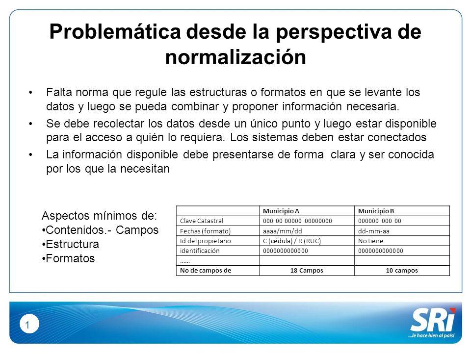 1717 Problemática desde la perspectiva de normalización Falta norma que regule las estructuras o formatos en que se levante los datos y luego se pueda combinar y proponer información necesaria.
