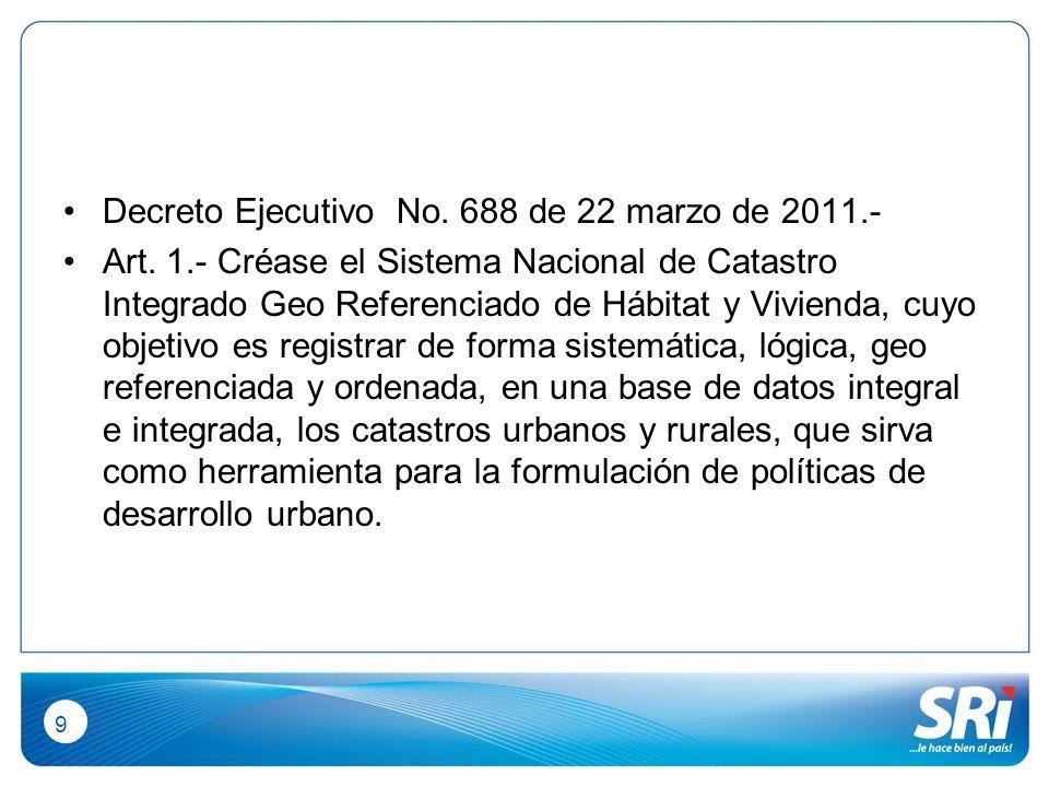 9 Decreto Ejecutivo No. 688 de 22 marzo de 2011.- Art.