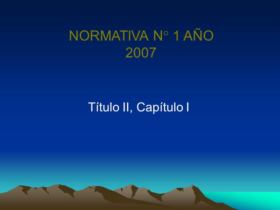 NORMATIVA N° 1 AÑO 2007 Título II, Capítulo I