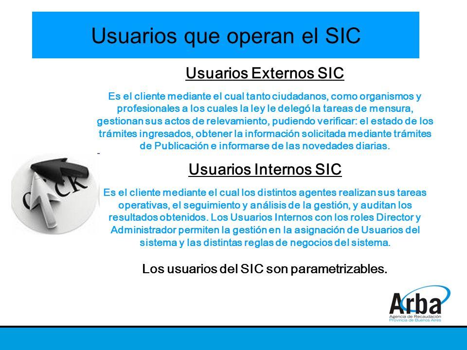 Usuarios que operan el SIC Usuarios Externos SIC Es el cliente mediante el cual tanto ciudadanos, como organismos y profesionales a los cuales la ley