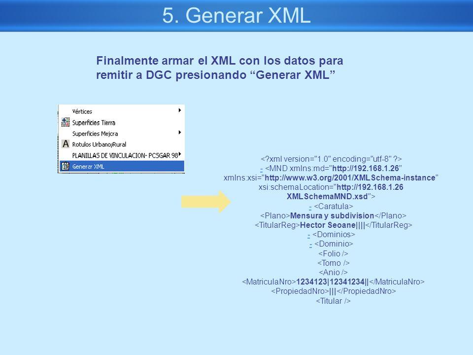 5. Generar XML - Mensura y subdivision Hector Seoane|||| - 1234123|12341234|| ||| Finalmente armar el XML con los datos para remitir a DGC presionando