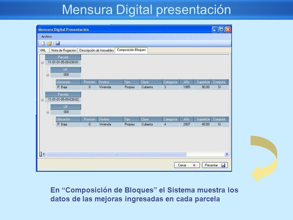 Mensura Digital presentación En Composición de Bloques el Sistema muestra los datos de las mejoras ingresadas en cada parcela