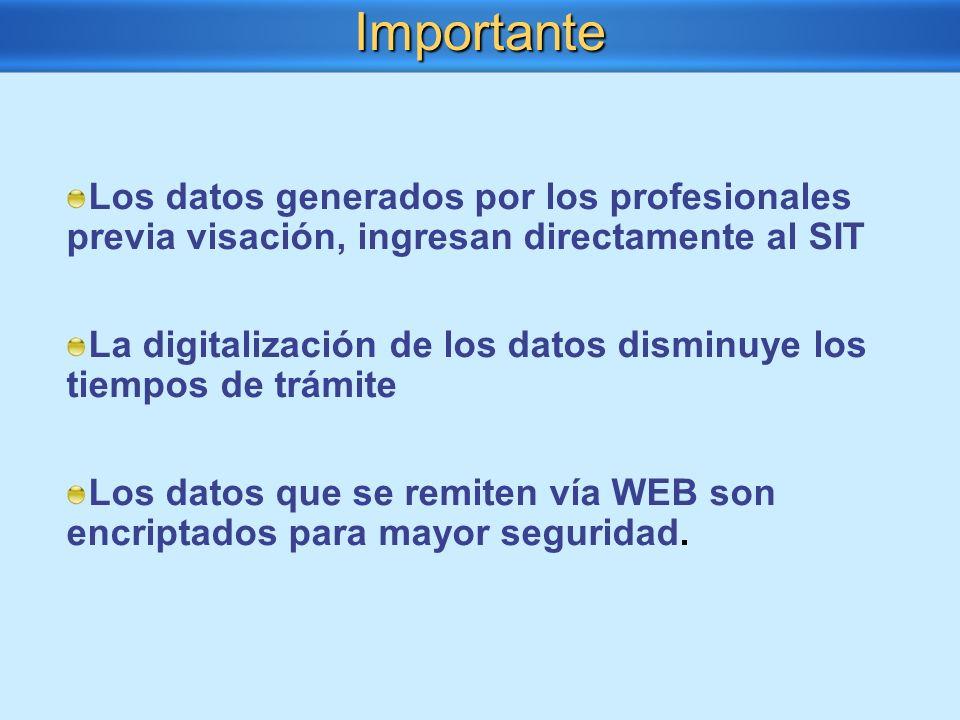 Los datos generados por los profesionales previa visación, ingresan directamente al SIT La digitalización de los datos disminuye los tiempos de trámit