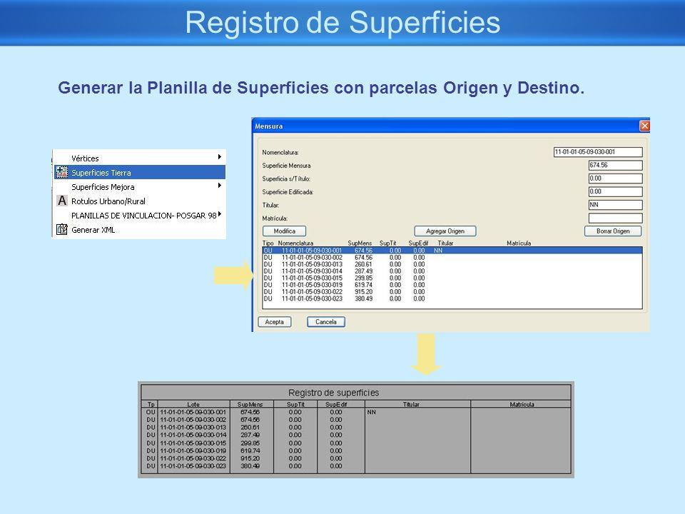 Registro de Superficies Generar la Planilla de Superficies con parcelas Origen y Destino.
