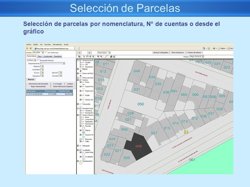 Selección de Parcelas Selección de parcelas por nomenclatura, N° de cuentas o desde el gráfico