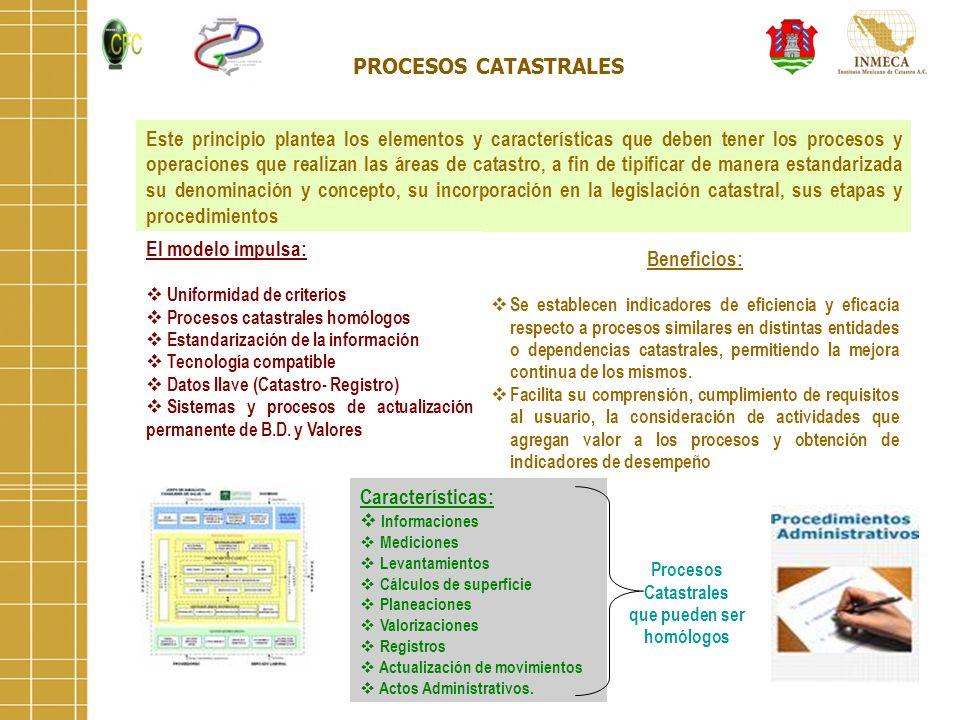 PROCESOS CATASTRALES Este principio plantea los elementos y características que deben tener los procesos y operaciones que realizan las áreas de catas