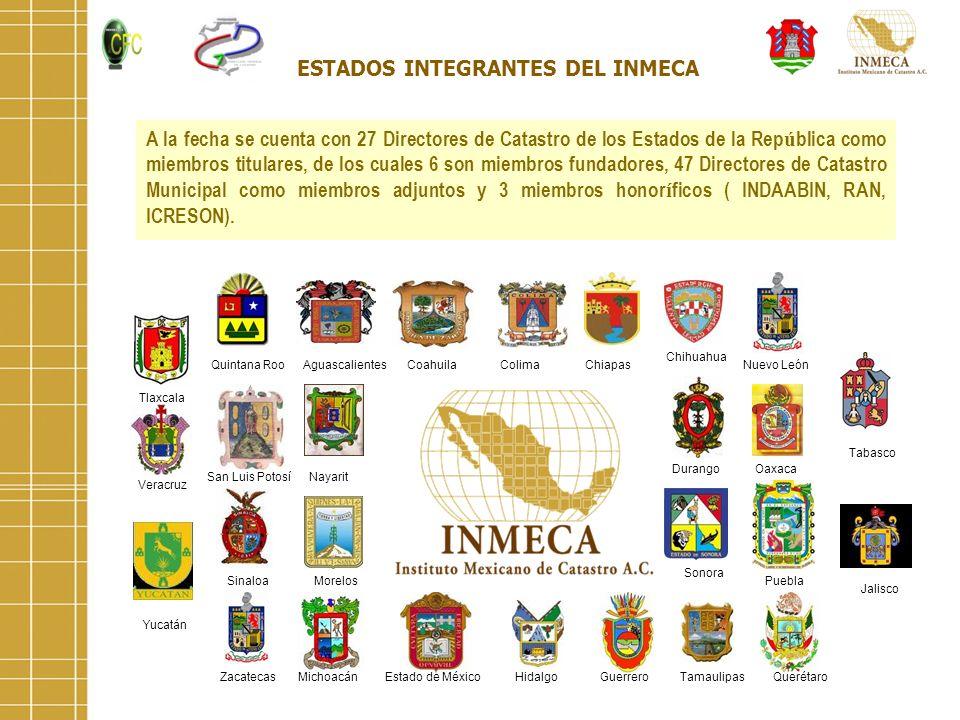 ESTADOS INTEGRANTES DEL INMECA A la fecha se cuenta con 27 Directores de Catastro de los Estados de la Rep ú blica como miembros titulares, de los cua