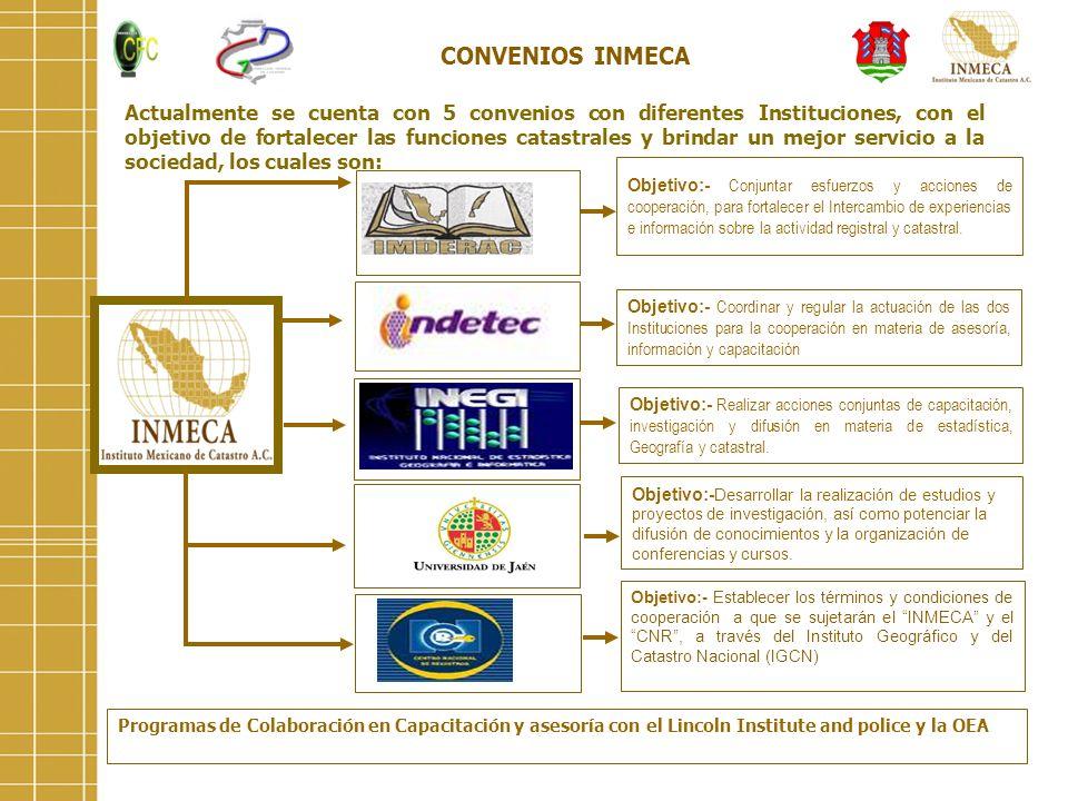 Actualmente se cuenta con 5 convenios con diferentes Instituciones, con el objetivo de fortalecer las funciones catastrales y brindar un mejor servici
