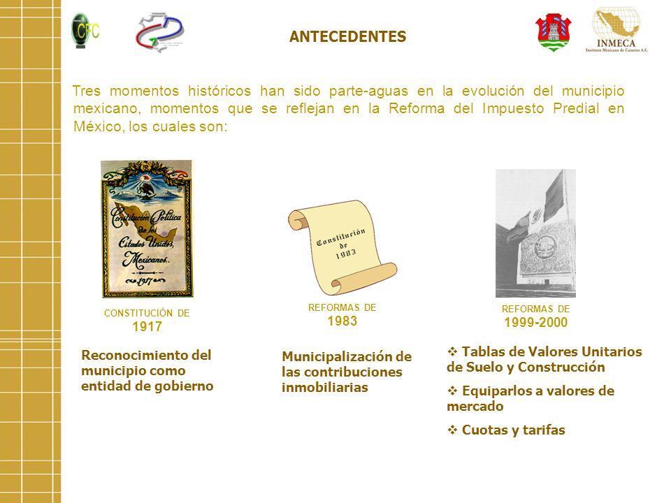 ANTECEDENTES Tres momentos históricos han sido parte-aguas en la evolución del municipio mexicano, momentos que se reflejan en la Reforma del Impuesto
