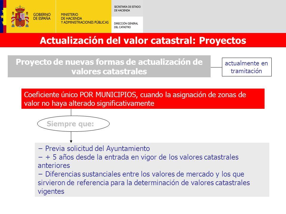 Proyecto de nuevas formas de actualización de valores catastrales Coeficiente único POR MUNICIPIOS, cuando la asignación de zonas de valor no haya alt