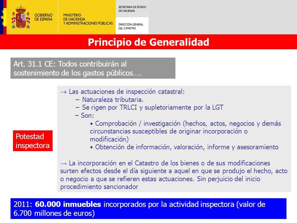 Principio de Generalidad Art. 31.1 CE: Todos contribuirán al sostenimiento de los gastos públicos…. Potestad inspectora Las actuaciones de inspección