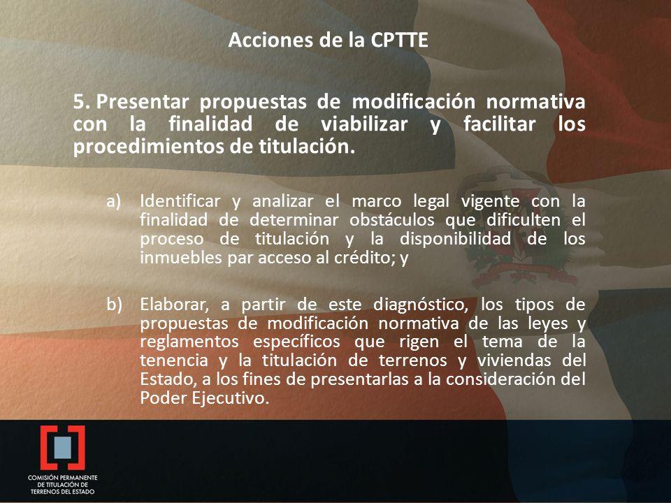 Acciones de la CPTTE 5. Presentar propuestas de modificación normativa con la finalidad de viabilizar y facilitar los procedimientos de titulación. a)