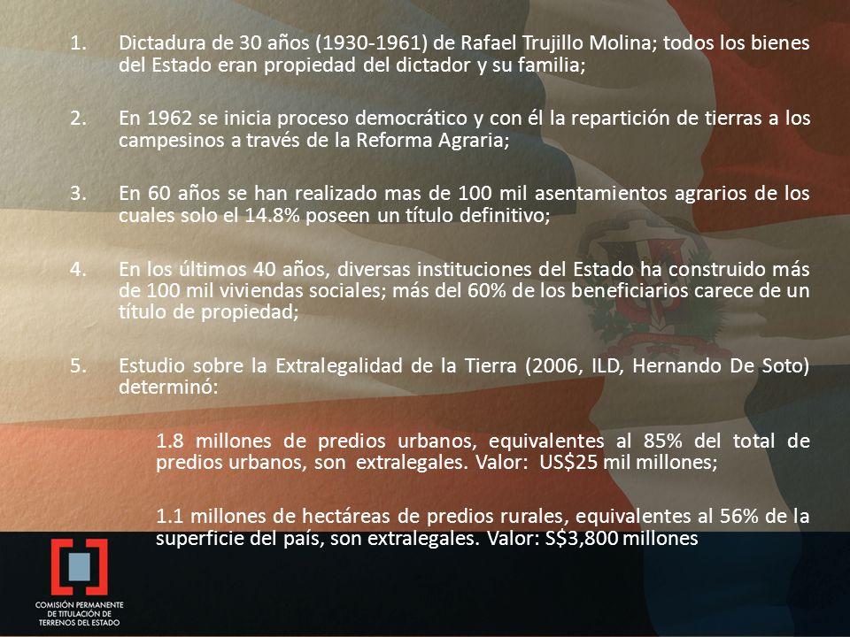 1.Dictadura de 30 años (1930-1961) de Rafael Trujillo Molina; todos los bienes del Estado eran propiedad del dictador y su familia; 2.En 1962 se inicia proceso democrático y con él la repartición de tierras a los campesinos a través de la Reforma Agraria; 3.En 60 años se han realizado mas de 100 mil asentamientos agrarios de los cuales solo el 14.8% poseen un título definitivo; 4.En los últimos 40 años, diversas instituciones del Estado ha construido más de 100 mil viviendas sociales; más del 60% de los beneficiarios carece de un título de propiedad; 5.Estudio sobre la Extralegalidad de la Tierra (2006, ILD, Hernando De Soto) determinó: 1.8 millones de predios urbanos, equivalentes al 85% del total de predios urbanos, son extralegales.