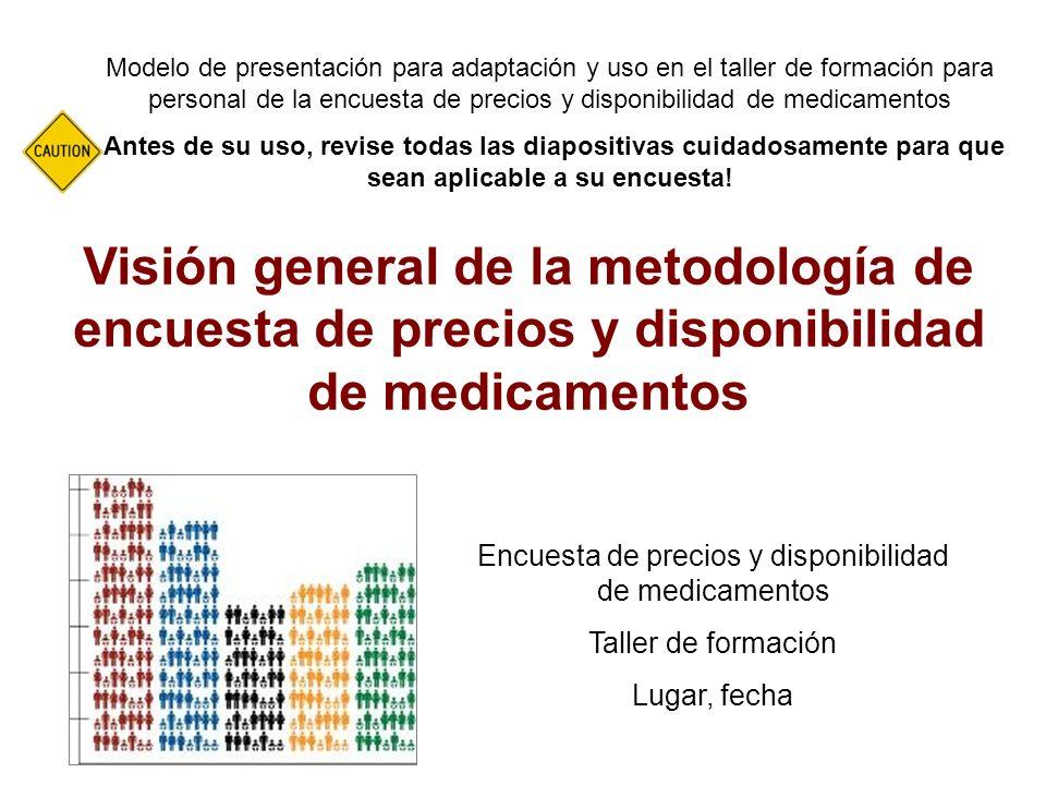 Visión general de la metodología de encuesta de precios y disponibilidad de medicamentos Modelo de presentación para adaptación y uso en el taller de