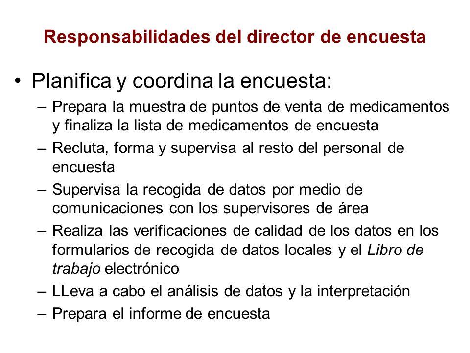 Responsabilidades del director de encuesta Planifica y coordina la encuesta: –Prepara la muestra de puntos de venta de medicamentos y finaliza la list